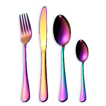 HOMQUEN Set de cubiertos de colores de 16 piezas, Set de cubiertos de acero inoxidable de 18/0, servicio para 4 personas, vajilla de comedor (color de arco ...