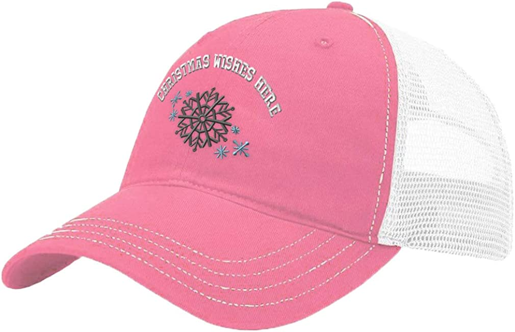 Custom Trucker Hat Richardson Christmas Snowflake H Embroidery Wishes Cotton