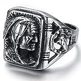 Kstyle Jewelry Mens Stainless Steel Ring, Biker, Silver, Black, Indian, KR2222 (12)