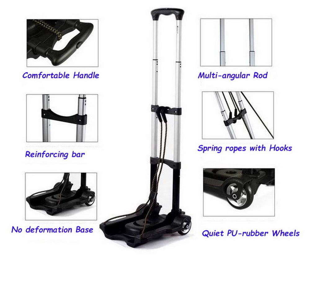 Portable Folding Hand Truck Dolly Utility Cart Foldable Trolley put in Backpack Push Luggage Flatbed Cart by nice--buy (Image #5)