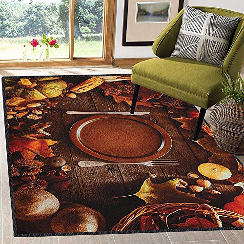 Harvest Traditional Bright Area Rug,Dinner at Thanksgiving Fall Color Theme Plate and Cutlery Various Seasonal Food for Home Decorate Brown Orange 67
