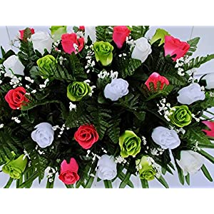 Spring Cemetery Flowers for Headstone and Grave Decoration-Pink Green and White Rose Mix Saddle 3