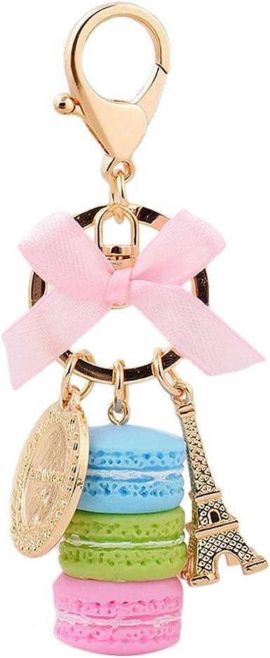 Eiffel Tower Cake Macarons Key Chains Bag Decoration Pendant Jewelry Gift