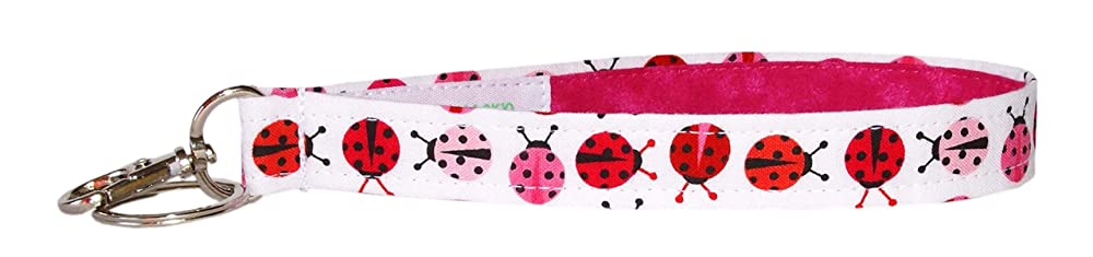 Ladybug Key Fob 6 Inch Loop Pink and White Key Chain Strap Pink Ladybug Keychain 3//4 Inch Wide Purse or Wallet Strap
