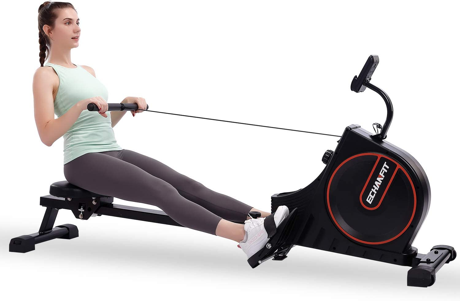 ECHANFIT Rowing Machine Magnetic Rower for Home Use Foldable 16 Quiet Resistance Levels Cardio Workout for Fitness with LCD Monitor Transport Wheels and Adjustable Console Angle