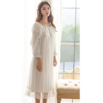 Women s Victorian Nightgown Vintage Sleepwear Lace Chemise Lounge Dress  Pajamas (Blue) at Amazon Women s Clothing store  05e945ee7