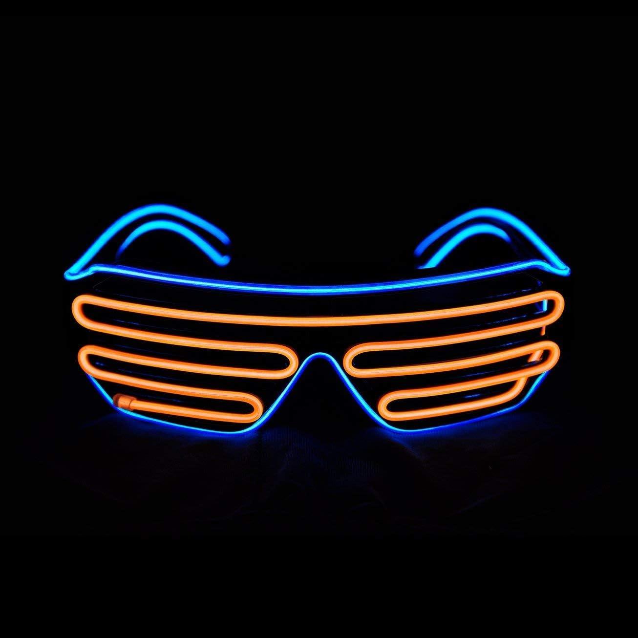 No/ël Party GCBTECH EL N/éon LED Lumineuse Lumi/ère Lunettes Masques Noir Cadre+ Voix Contr/ôle Batterie Bo/îte pour F/ête D/écorations Le Parti de Mariage Bleu Disco Bar Cosplay