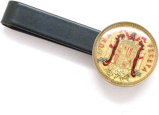 España moneda Tie Bar Clip Tiebar tieclip España Barcelona Madrid escudo del español pintado a mano Pisa corbata Joyeria: Amazon.es: Joyería