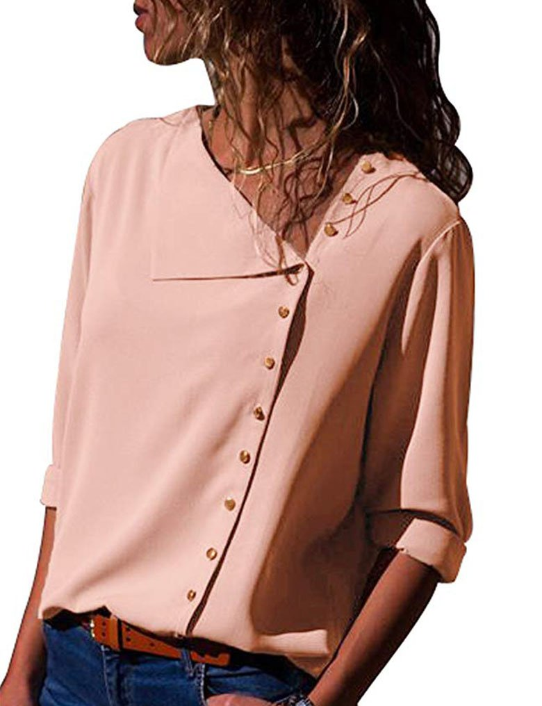 Lalala Women's Comfy Long Sleeve V Neck Button up Blouse Top for Office S,Pink
