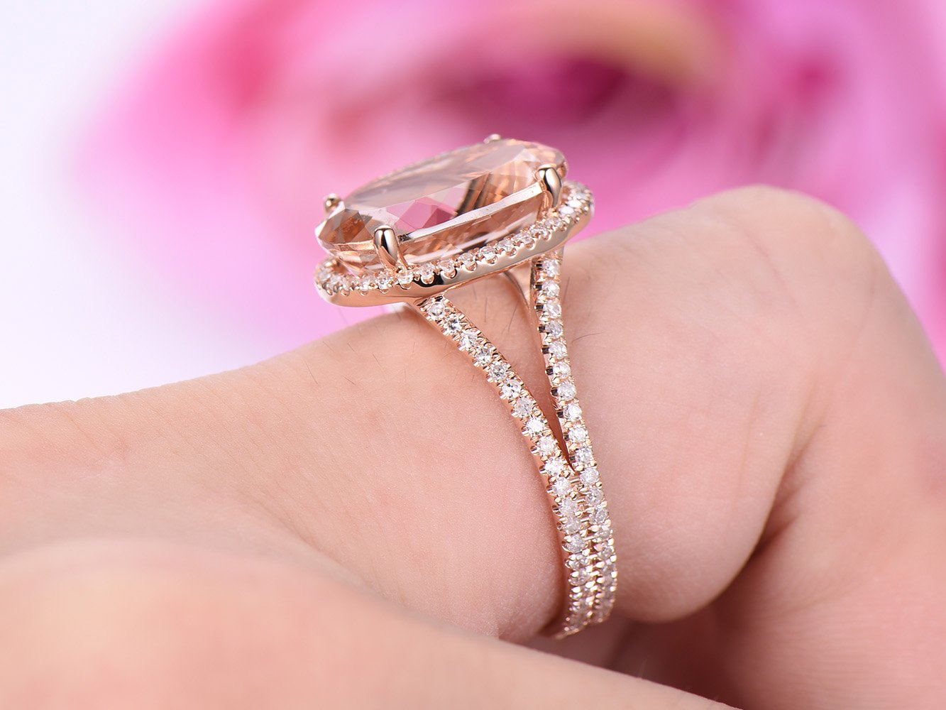 Amazon.com: Elongated Oval Morganite Engagement Ring Diamond Split ...
