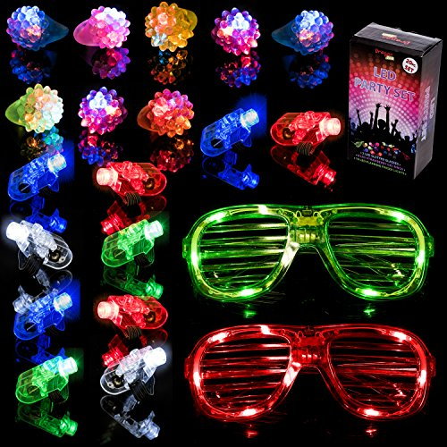 Lumi Pack - Dragon Too LED Party Pack LED Light Up Party Favor Toy Supplies Set - Party Pack Of LED Glasses LED Finger Lights & LED Strawberry Gel Rings By (20 Piece Set)