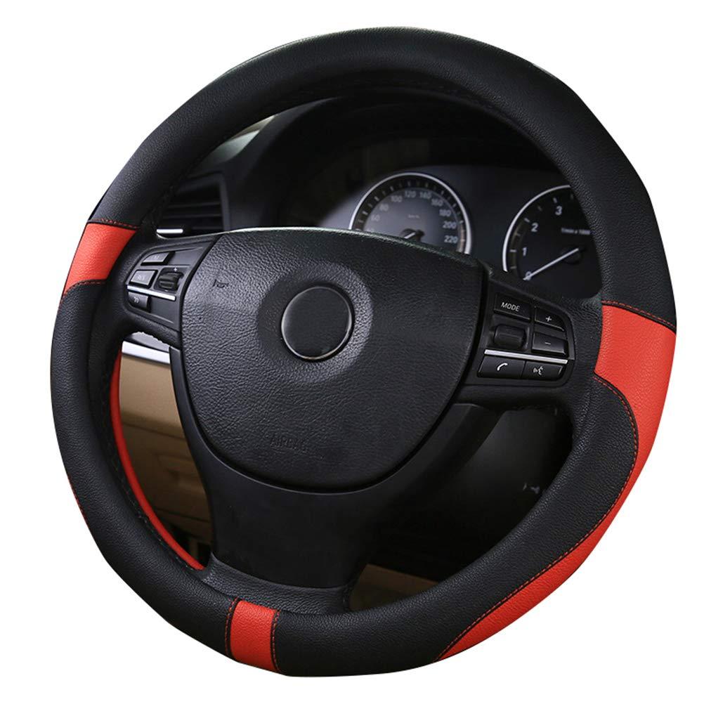 2018 Cuero deportivo Cubierta del volante del autom/óvil Estilo del autom/óvil Protecci/ón del medio ambiente Di/ámetro del apestoso 38 cm Negro Beige