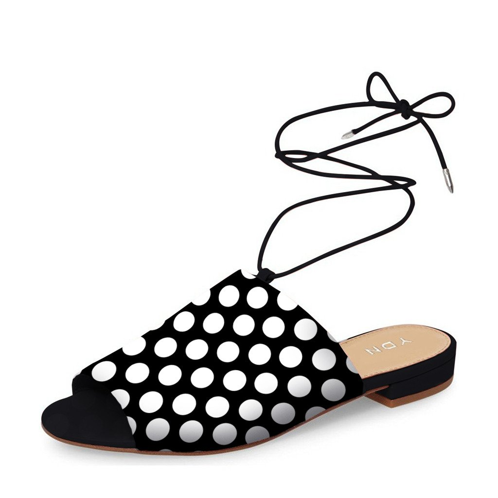 YDN Women Lace up Suede Flat Mules Low Heel Peep Toe Slippers Comfy Walking Shoes Polka Dots 10