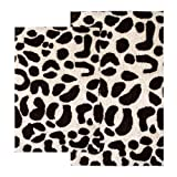 Chesapeake 2-Piece Leopard 21-Inch by 34-Inch and 24-Inch by 40-Inch Bath Rug Set, Chocolate and Ivory