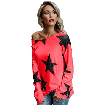 HOSOME Women Top Women Girl Strapless Star Sweatshirt Long Sleeve Crop Jumper Pullover Tops