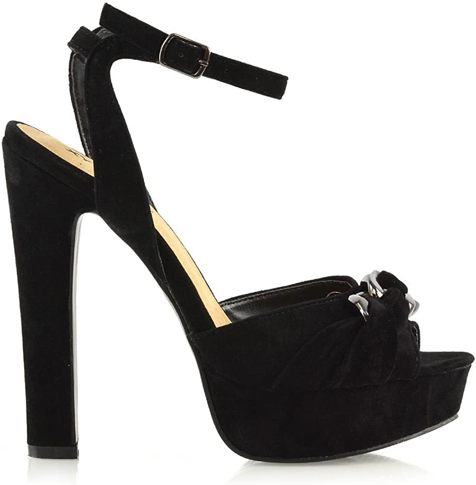Womens Platform High Heel Strappy Sandals Ladies Peep Toe Evening Shoes Size 3-8
