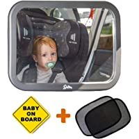Baby Backseat Mirror for Car (Fully Assembled) 100% Lifetime Satisfaction Guarantee - Cling On Sunshades Plus Baby on Board Sign. View Infant in Rear Facing Car Seat - Perfect Baby Shower Gift for Boys and Girls
