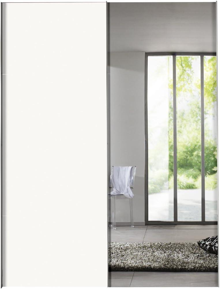 Solutions 04300 – 070 – Armario de Puertas correderas (2 Puertas Estructura y Frente Polar Color Blanco, Espejo, Mango Listones alufarben, 68 x 150 x 216 cm: Amazon.es: Hogar