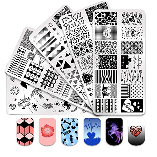 - CoulorButtons 5Pcs UR SUGAR 12x6CM Round Nail Art Stamp Stamping Template Plates Dreamy Fairy Tale Manicure Nail Art DIY Plates URL01-URL05