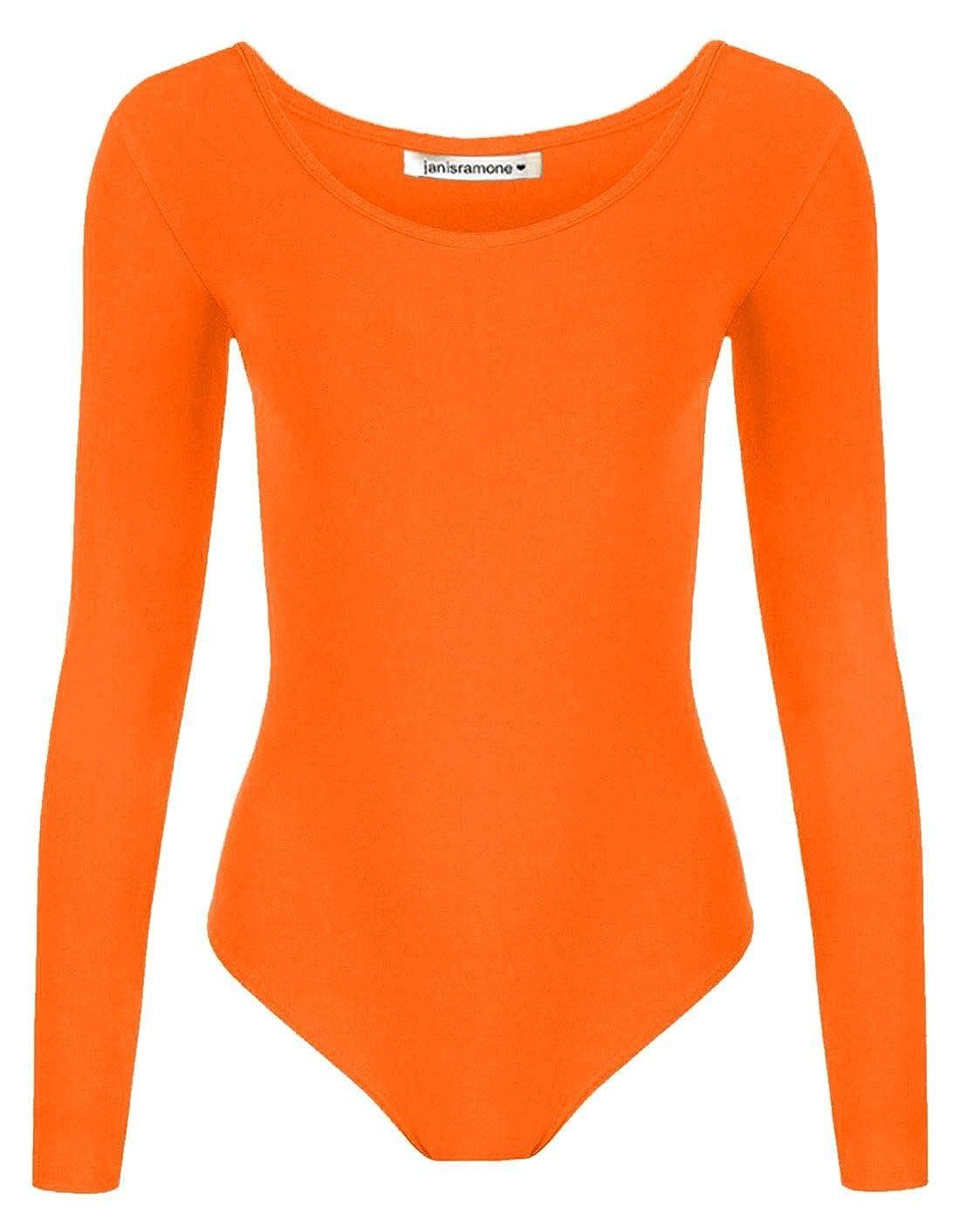 Janisramone New Girls Kids Plain Long Sleeve Microfibre Stretch Dance Leotard Bodysuit Top