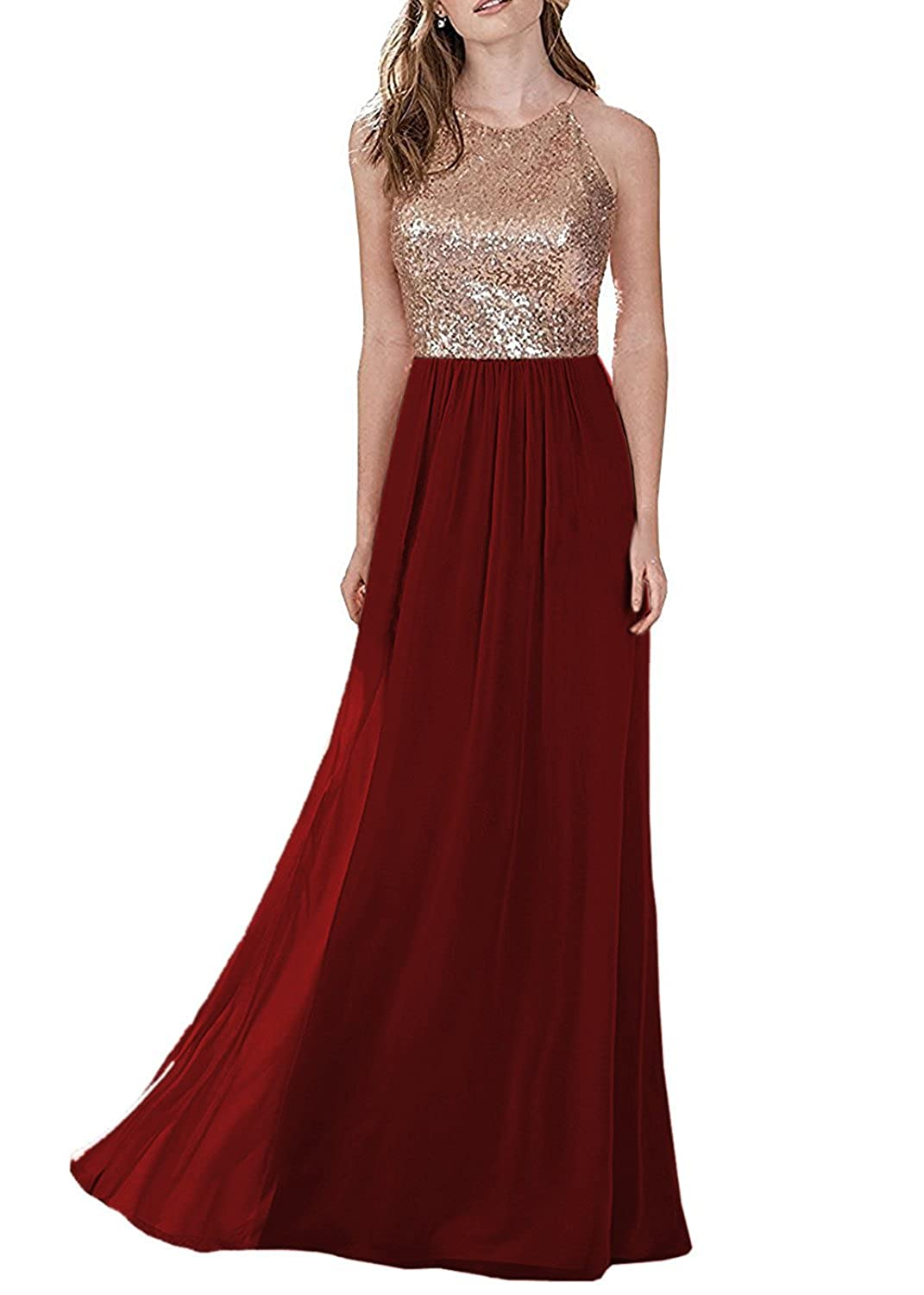 Burgundy LL Bridal Top Sequins pink gold Bridesmaid Dress Long Prom Party Dresses Evening