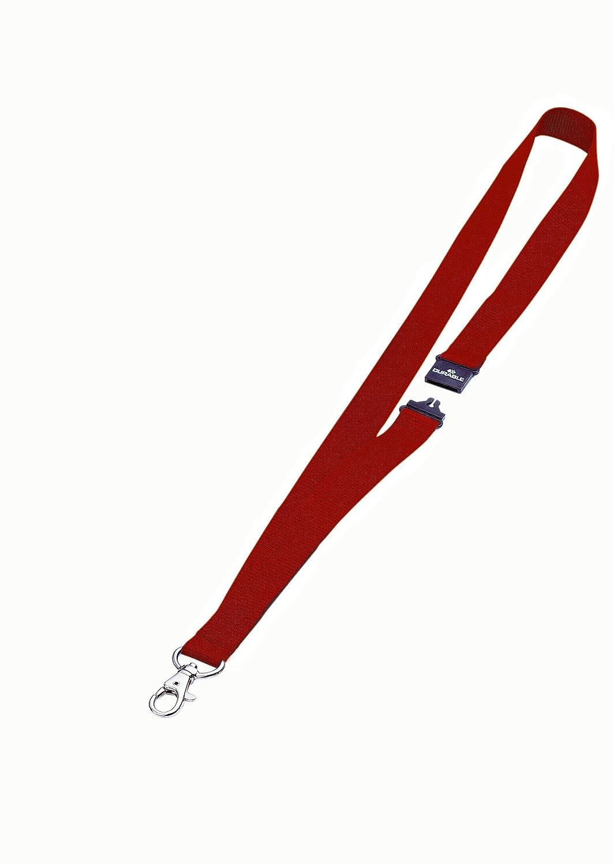 DURABLE 813703 - Cordoncino in tessuto, clip per combinazione con i portanome con asola, larghezza 20 mm, lunghezza 44 cm, rosso, confezione da 10 pezzi