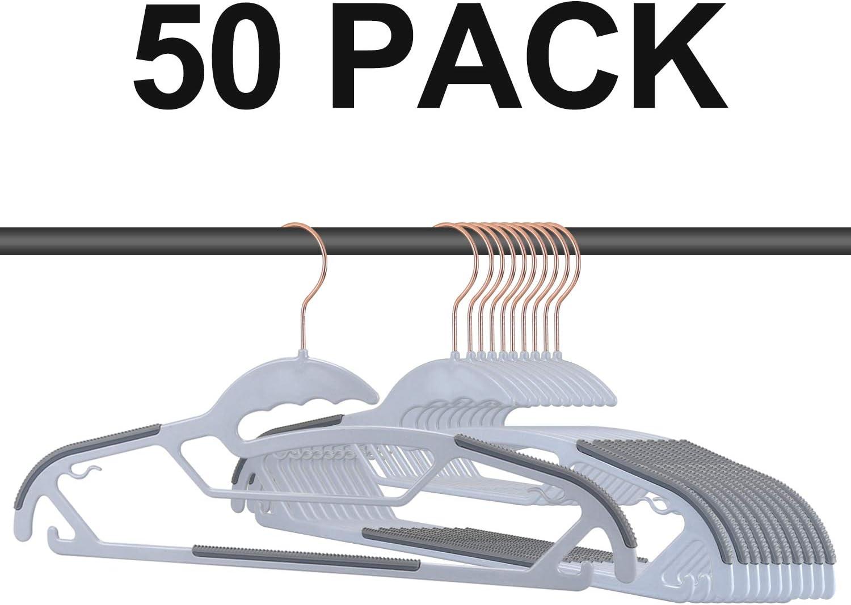 30PACK 16.5 in Upgraded Rubber Stripe Non-Slip Coat Hangers,Space Saving,Heavy Duty Hangers Plastic Gray FSUTEG Plastic Hangers,Clothes Hangers
