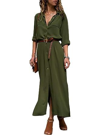 3d8260163 Miessial Women's Long Sleeve Button Down Dress Casual Maxi Split Shirt  Dresses Army Green ...