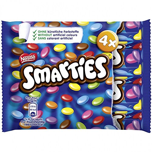 Smarties Multipack 4 x 38g. Chocolate buttons with a crisp candy shell