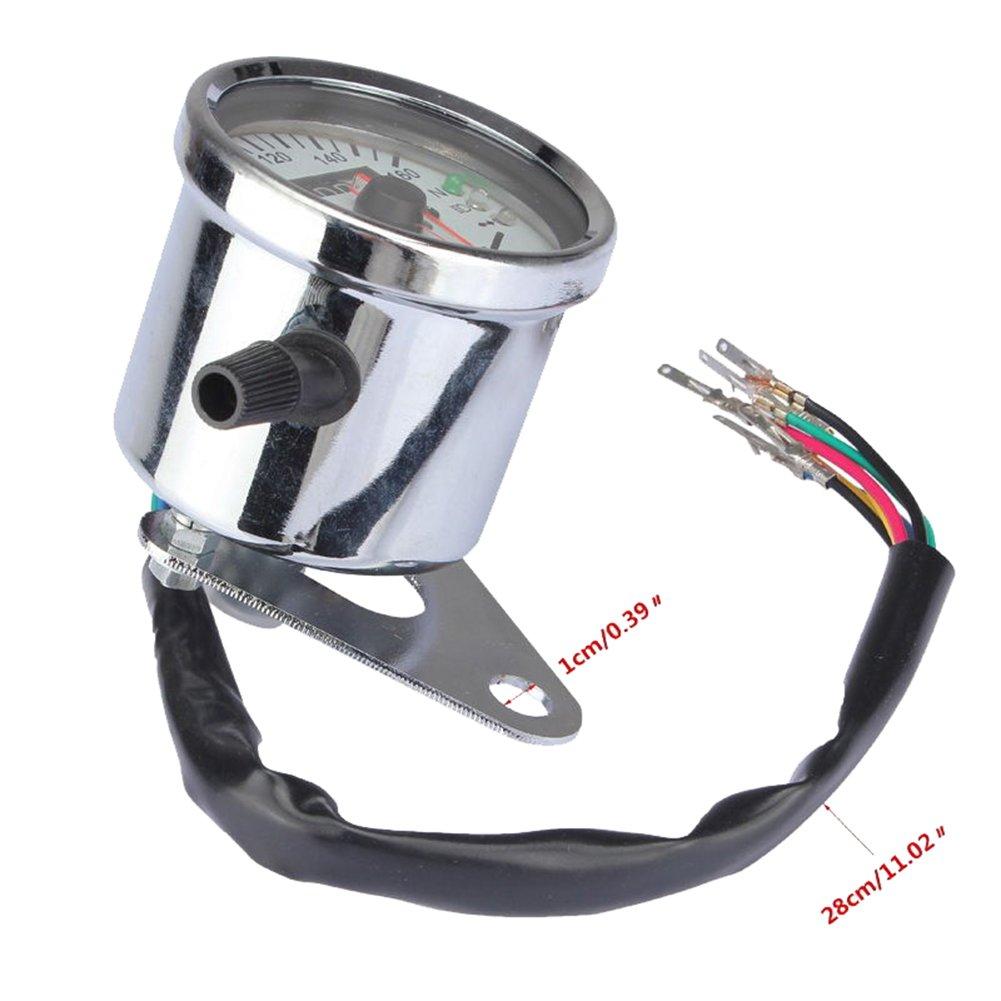 Universal Motorrad Drehzahlmesser Dual Tachometer 12V Wegmesser mit LED Hintergrundbeleuchtung Metall Geschwindigkeitsmesser