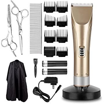Hair Clippers Hair Trimmer Haircut Kit Professional Hair Clippers Set with 2 Batteries Quiet Safety Hair Razor for Women and Men Home Use (Golden)