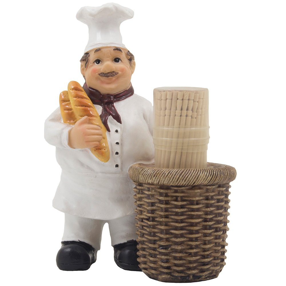 French Chef Pierre Decorative Toothpick Holder Figurine with Faux Wicker Basket Display Stand and Gourmet Bread Accents for Country Cottage Kitchen Decor As Collectible Housewarming Gifts by Home-n-Gifts by Home 'n Gifts