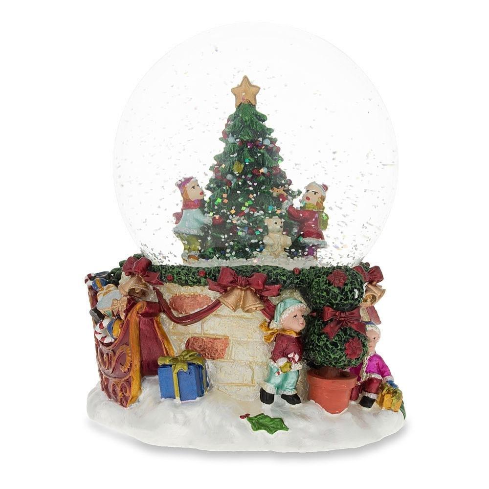 BestPysanky Cheerful Kids Decorating Christmas Tree Musical Snow Globe PM-20