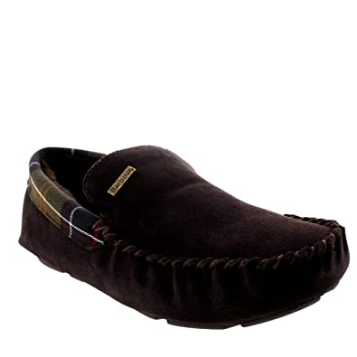 88e6ea37db90 Barbour Mens Monty Moccasin Suede Fur Lined Slipper Slip On Shoes - Brown -  12.5-