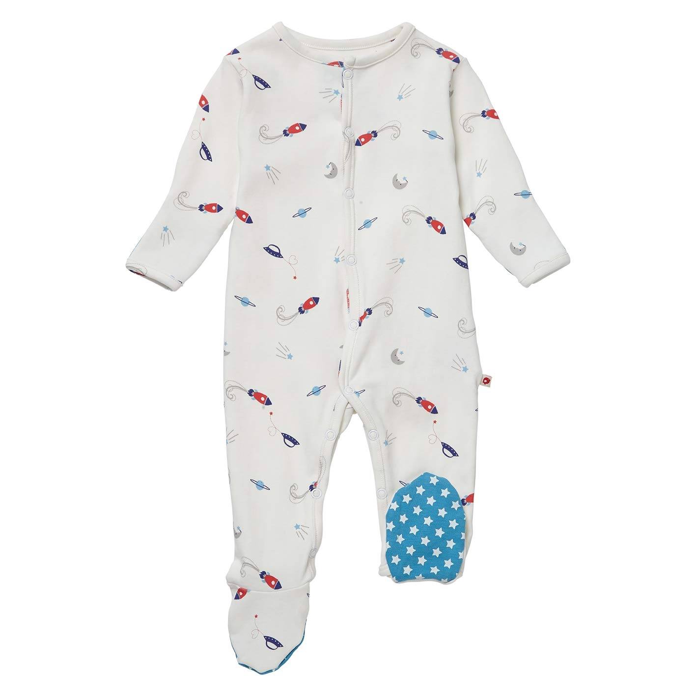 Piccalilly Organic Cotton Baby Boys Blue Classic Space Footed Sleepsuit