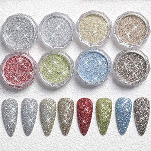 8 colours Mini Crystal Rhinestones Nail Art Set, 8 Bottles three-D Iridescent Diamond Shining Gems Stones Jewels for Nails Art DIY, Face, Make Up, Phones Decorations(Gel Glue Need)