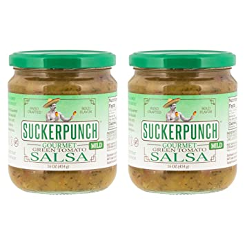 SuckerPunch Gourmet - Green Tomato Salsa, Fresh Taste, Gluten Free, Vegan Friendly,