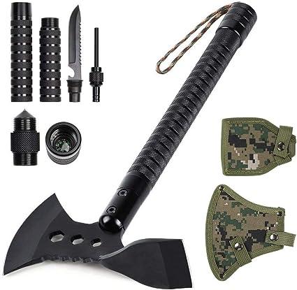 "Survival Hatchet Hiking Camping Axe /& Adze Multi-tool 17.7/"" Sheath Portable"