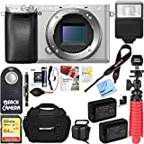 Sony a6300 4K Mirrorless Camera Body w/APS-C Sensor (Silver) ILCE6300/S and Case 64GB SDXC Memory Card Pro Photography Bundle (Camera Body Bundle, Silver)