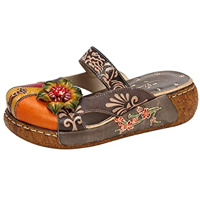 ce3a331c5201f Mordenmiss Women s Colorful Backless Slippers Flowers Leather Vintage Boho  Platform Flat Sandals Gray ...