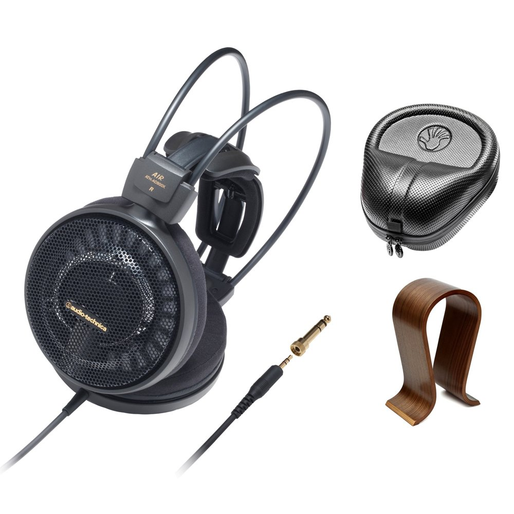 Audio-Technica Audiophile Open-Air Headphones Black (ATH-AD900X) with Slappa HardBody PRO Full Sized Headphone Case Black & Universal Wood Headphone Stand by Audio-Technica