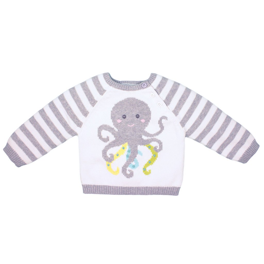 Zubels Hand-Knit Octopus Sweater, 18M - All-Natural Fibers, Eco-Friendly Gray by Zubels
