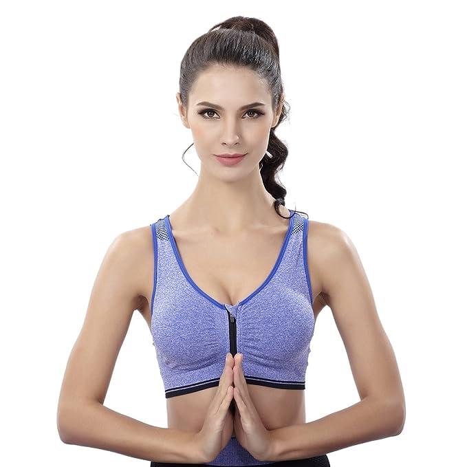 5d53d8b35cd1b Yuanu Women Front Zipper Wireless Shockproof Sport Lingerie Bra Soft  Comfortable Breathable Yoga Running Vest  Amazon.co.uk  Clothing