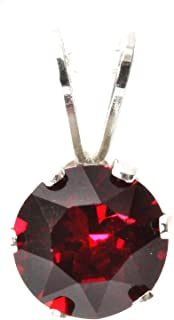 CLEARANCE Black Moon® Sterling Silver Ruby Dark Red Crystal Pendant - July Birthstone