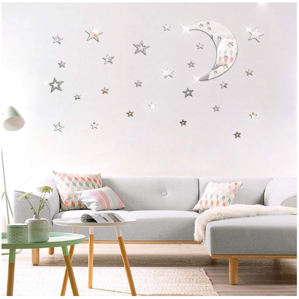 ATFUNSHOP Hollow Out Moon and Stars Decoration - 11inch Moon and 100 PCS Stars Mirror Like Acrylic Wall Stickers Kids Room Decor