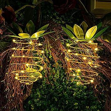 Juego de 2 luces solares de jardín de piña de hierro solar, alambre de cobre para jardín, retráctil, impermeable, iluminación para decoración del hogar: Amazon.es: Salud y cuidado personal