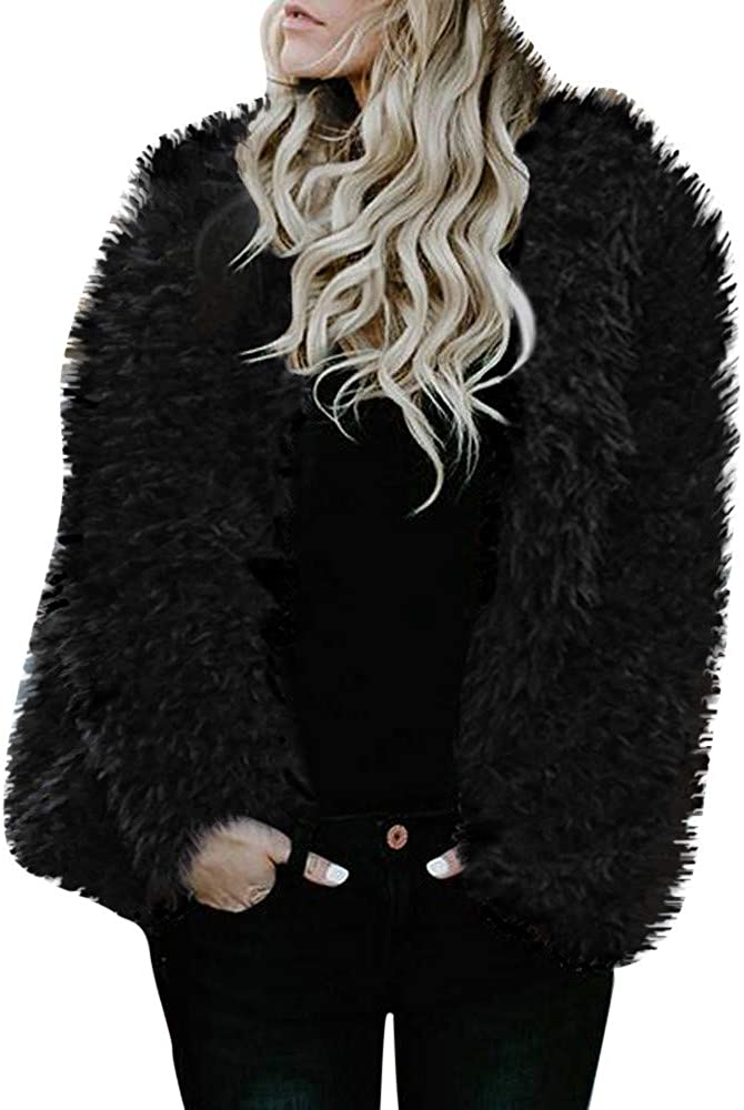 Behkiuoda Womens Winter Shaggy Long Faux Fur Coat Jacket Loose Outwear Tops Pullover Overcoat