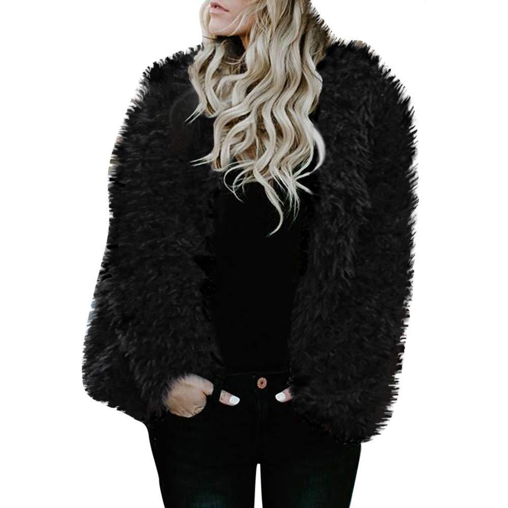 Amazon.com: AOJIAN Women Jacket Long Sleeve Outwear Pure Color Open Front Plush Fuzzy Hooded Outerwear Coat: Clothing