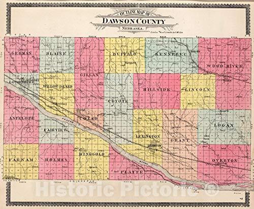 Historic Map   1904 Dawson County, Nebraska.   Vintage Wall Art   30in x 24in