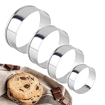 Juego de cortadores de galletas redondos de 4 piezas, borde liso, cortadores redondos en